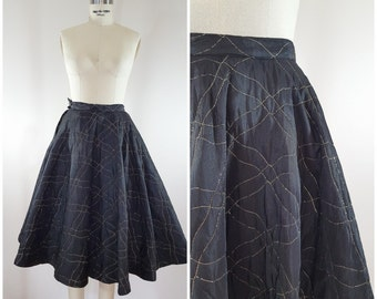 Vintage 1950s Skirt / Black and Gold Quilted Skirt / Gold Quilting / Circle Skirt / XS