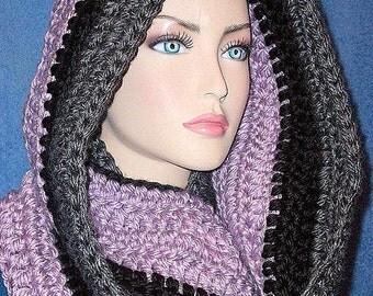 Purple Crochet Infinity Scarf, Black Crochet Infinity Scarf, Gray Crochet Infinity Scarf, Purple Gray Infinity Scarf Handmade Infinity Scarf