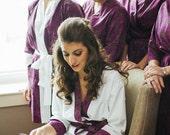 Purple Bridesmaid Robes. Purple Kimono Robe. Purple Dressing Gown. Modern Ripe Plum. Knee or Mid Calf Length. Small thru Plus Size 2XL.