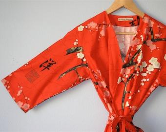 Red Kimono Robe. Red Kimono.  Red Dressing Gown. Modern Kimono Garden Red Kimono. Knee Length.