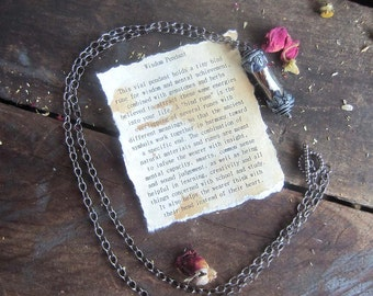 Wicca spell wisdom amulet necklace wiccan jewelry witchcraft magick occult witchy jewelry metaphysics mystical jewelry