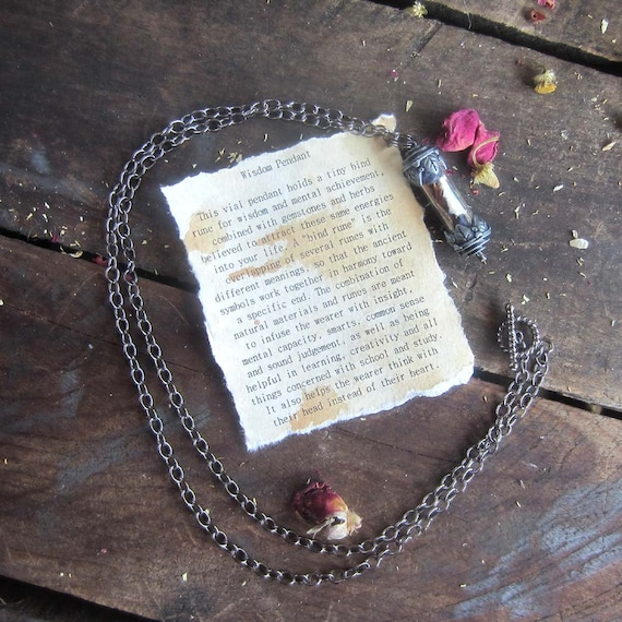 Wicca spell amulet necklace wisdom, intelligence, study, school, exams, learning, wiccan jewelry witchcraft spells intelligence magick