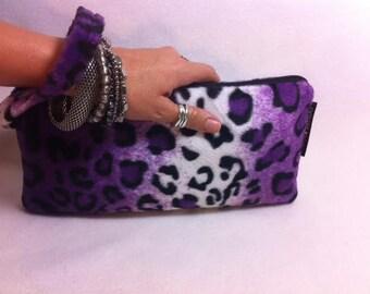 Purple Leopard Purse, Purse, Handbag, Clutch, Leopard Purse, Goth Purse, Purple Leopard Purse, Zipper Pouch, LW11X5FF-Purple