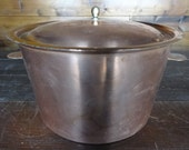 Vintage French Jean Matillon copper metal saucepan pot with lid circa 1970-80's / English Shop