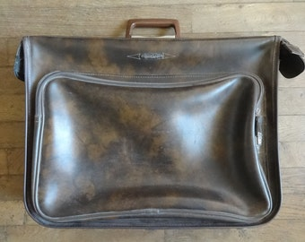 Vintage English Man Made Material Travel Tan Brown Folding Suitcase Bag Carry Case Carrier Soft Accessories circa 1960-70's / English Shop