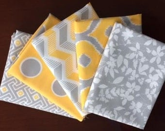 Mixologie in Yellow and Gray Fat Quarter Bundle of 5 by Studio M for Moda LAST ONE