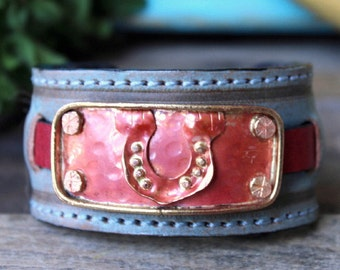 Lucky Horseshoe Country Western Leather Cuff