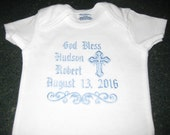 God Bless Baptism Christening Personalized Onesie For Baby Boy or Baby Girl
