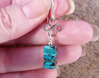 Turquoise and Sterling Silver Earrings. Celtic Wire Working.
