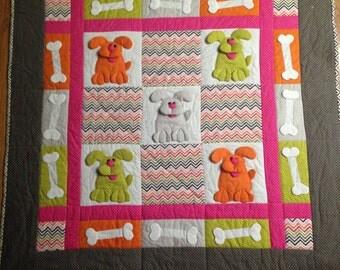Baby Quilt / Baby Blanket / Handmade Quilt / Dog Quilt / Baby Shower Gift / 3D/ Dog Pockets/ Animal Quilt