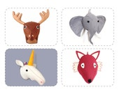 Felt Animal Sewing Pattern, Plush Faux Taxidermy PDF, Stuffed Heads, Discount Bundle 4 For 3