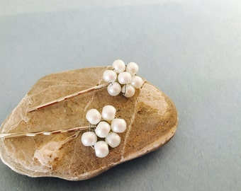 Pearl Flower Hair Clip, Set of two, Wedding Accessory, Hand Made in the USA, Item No. De162