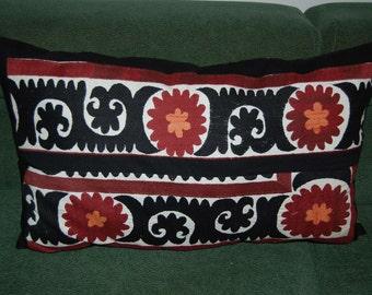 Beautiful  handmade samarkand urgut grid  pattern Suzani Pillow Cover embroidered    27.5x19.5 inch