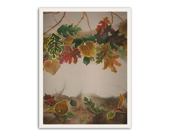 Beautiful landscape, autumn leaves, pear, giclee print on paper, relaxing art, cute wall decor, fruit, earth colors, calm, fireside mood