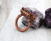 Raw Amethyst gemstone ring | Amethyst and copper ring | Amethyst crystal ring | Statement ring | February stone | Crystal jewelry | Size 5