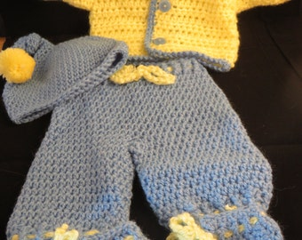 Crochet Blue and Yellow Preemie Boy Outfit