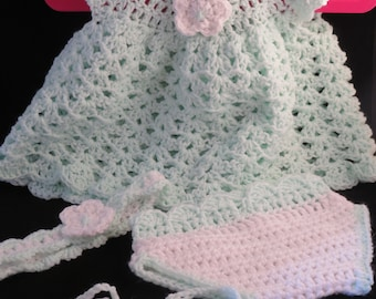 Crochet Newborn Girl Dress Outfit-Mint Green and White
