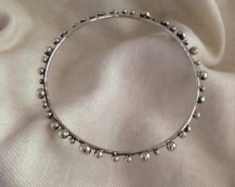 Artsy Sterling Silver Bangle Bracelet with Multiple Silver Balls. All Hand Made. 75.00