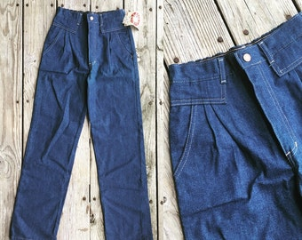 Vtg 80s NWT Mod High Waist Stretch Blue Jeans