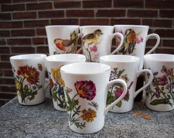 Eight Royal Sutherland Fine Bone China Teacups Coffee birds botanical