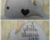 I Whale Always Love You--Small Plush Whale in Gray and Navy