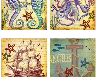 Ship Anchor Nautical Instant Download Starfish Fish Sea Horse Octopus Ship 4 Inch Squares 2 Sets of 4 Images Each JPEG (16-10)