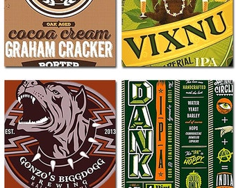 Beer Logo Coasters Can Art Bar Gift India Pale Ale Craft Hops Instant Download 4 Inch Square 5 Sets 4 Images Each JPEG (16-18)