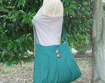 Holiday On Sale 10% off Turquoise green cross body bag / messenger bag / shoulder bag / diaper bag  - cotton canvas