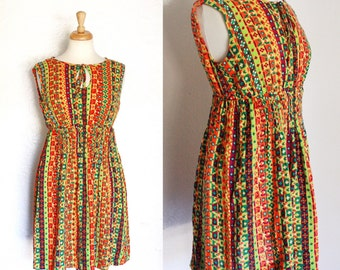 FREE SHIPPING//Bright lights hippy dress | vintage 1970s | orange yellow green psychedelic | size medium