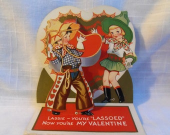 Vintage 1939 Valentine Fold Out Western Cowboy Cowgirl Lasso Lassoed