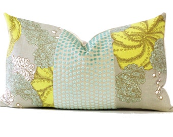 Designer Down Pillow Yellow and Green