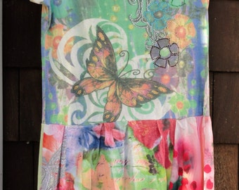 Butterflies Gypsy Hippy Boho T Shirt Dress Tattered Mosaic Sz M