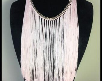 Vintage Fringe Bib Necklace Powder Pink