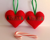 Christmas Noel heart tree ornaments . set of 2 red felt hearts . Holiday Tradition . Love and Noel . Holiday French Christmas Décor