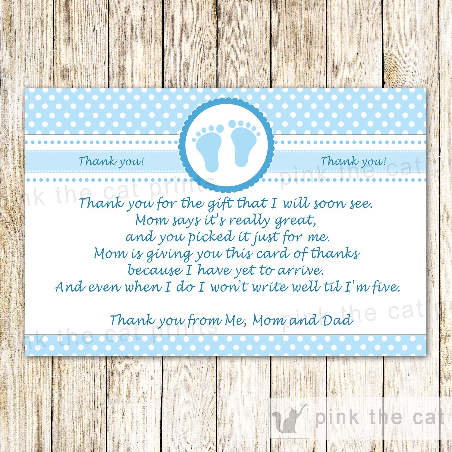 Blue Baby Feet Baby Boy Shower Thank You Cards Polka Dots