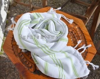 Turkishtowel-Soft-Hand woven,warp&weft cotton Hand,Tea,DishTowel-Twill pattern,Apple green stripes on White