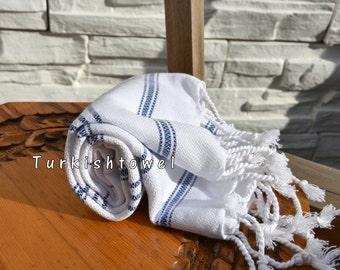 Turkishtowel-Soft-Hand woven,warp&weft cotton Hand,Tea,DishTowel-Twill pattern,Navy stripes on White