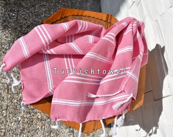 Turkishtowel-Set of 2-Soft-Hand woven,warp&weft cotton Hand,Tea,DishTowel-Twill pattern,White stripes on Hot Pink