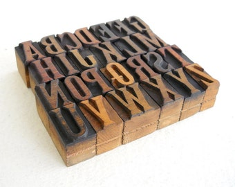 25% OFF - A to Z - Vintage Letterpress Wood Type Collection - 1 inch high - LP50