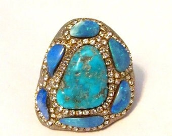 FALL SALE Turquoise and multi Opal shell doublets Sterling silver ring