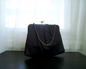 Black Satin Evening Bag, Lovely Black Satin Convertible Cutch, By Ande