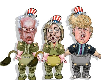 Donald Trump,doll  Hillary Clinton and Bernie Sanders printable  election Political paper puppets,articulated dolls election voting dolls