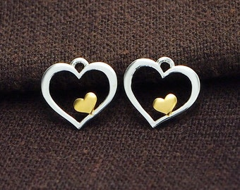 2 of 925 Sterling Silver Heart Charms 11mm. Two Tone Gold & Silver .  :tm0113