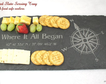 QTY of TWO Engraved Slate Cheese Board, Serving Tray, Wedding Gift, Anniversary Gift, Housewarming Gift, GPS Sign, Engraved Stone