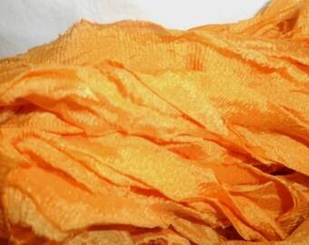 10 Yards BLOOMING MARIGOLD SUPREME Sari Silk Hand Dyed Ribbon
