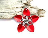 Red Flower Necklace - Pendant Necklace - Chainmaille Pendant - Scale Maille Pendants - Chain mail - Chainmail Jewellery - Chainmail