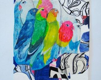 Parrots, Original Mixed Media College on Canvas Board / Parrots / Birds / Nature / Animals / Colorful / 11 x 14 / Wall Decor