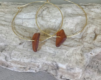 Hammered Bronze Hoop Earrings with Sea Glass