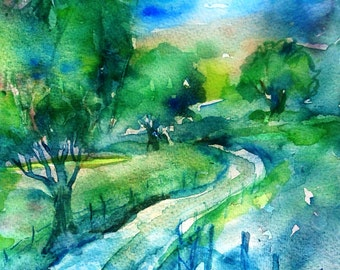 "Irish landscape art ""Lane to the Mountains in Wicklow -Ireland"" - Original Watercolour-Green landscape , Irish art"
