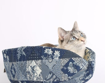 The Cat Canoe a Modern Cat Bed in Navy Blue Calico Patches with Butterfly Lining